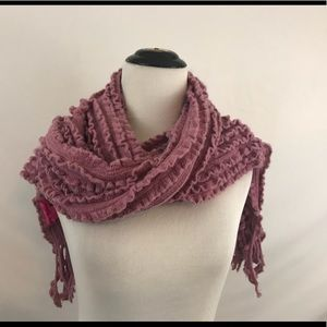 Betsey Johnson Acrylic Ruffled Scarf in Pink